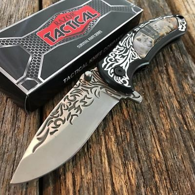 RAZOR TACTICAL Wildlife WOLF Spring Assisted Open Pocket Knife Engraved Blade -D