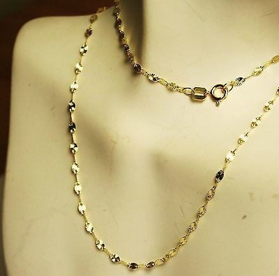 14k solid yellow gold 18'' star link,strong, lightweight, sparkly chain 0.9 gram