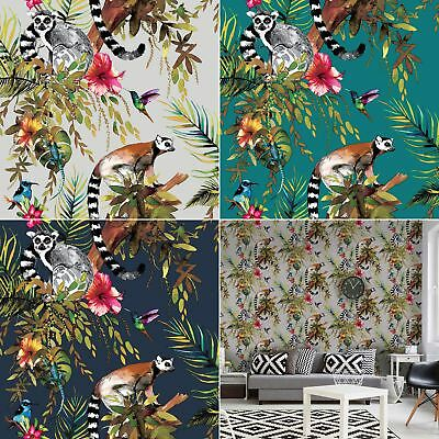 Lemur Wallpaper Tropical Jungle Birds Flowers Floral Trees Animals Holden Decor