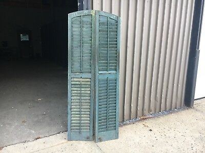 """Tall pair c1880 arched top window house shutter panels 72"""" x 14"""" w/old green"""