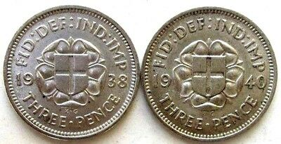 Great Britain Uk Coins, Threepence 1938 & 1940, George Vi, Silver 0.500 .
