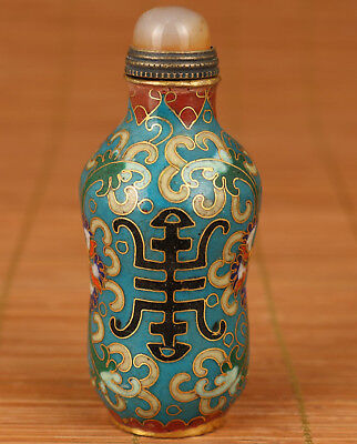 "Rare Chinese Old Copper Cloisonne Hand Painting ""shou "" Statue Snuff bottle"