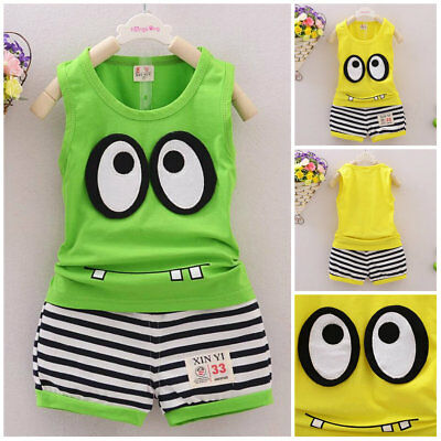 Boys summer outfits baby boys cotton Tank+short pants kids outfits cute big eyes