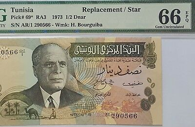 Tunisia-Ar/1 Replacement-1/2 Dinar-1973 *pmg 66 Epq Gem Unc*single Finest Known*