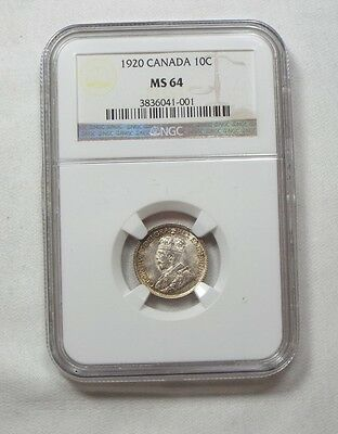 1920 CANADA George V Dime CERTIFIED NGC MS 64 Silver 10c