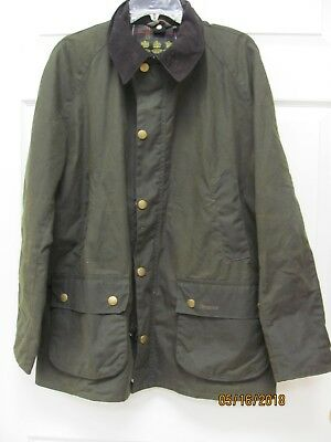 Barbour Ashby Jacket Men's XL Olive Waxed Cotton Tartan Lining