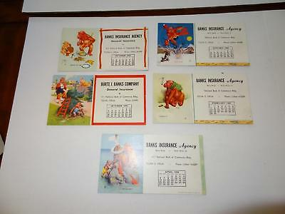 (5) Bank Insurance Agency Ink Blotters with Monkey Cartoons.1953,1955,1958 &1960