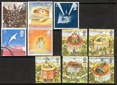 QEII 1995 Globe Theatre & Peace and Freedom used sets (j938)
