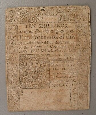 1775 Connecticut 10 Shillings Colonial Currency Note VG Backed