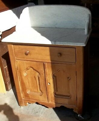 Antique Wooden Wash Stand Marble Top