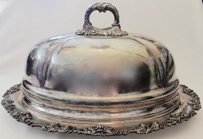 T.COX SAVORY ~ Antique Silverplate TURKEY-MEAT DOME COVER w/PLATTER (22x17x10)UK