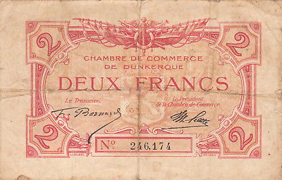 2 Francs  Fine Banknote From France/dunkerque 1920's