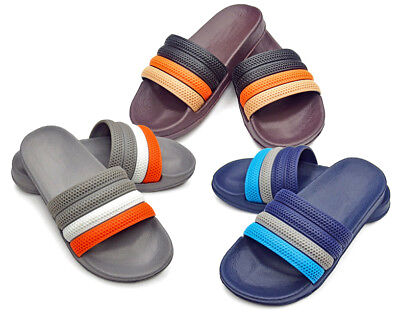 BOY'S SLIDES WITH MULTI COLOR STRAPS > (Lot of 48 Pairs)