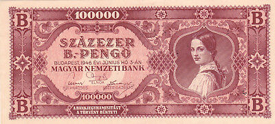 100 000 Bilpengo From Hungary 1946 Vf+ Banknote!pick-133