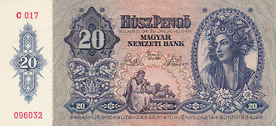 20 Pengo From Hungary 1941 Vf+ Banknote!pick-109