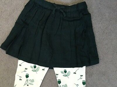 M&S BOTTLE GREEN SKIRT WITH CREAM/FLORAL GREEN LEGGING SET -AGE 12-18m BNWT