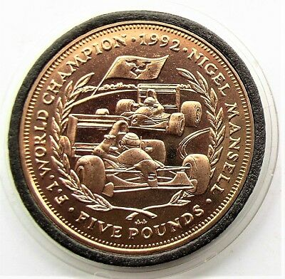 Isle of Man  Nigel Mansell 1992 world champion £5 Coin 1993  BU in Capsule
