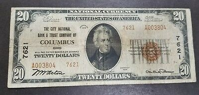 1929 Bank of Columbus OH $20 National Currency Brown Seal Note Type 2. (J2)