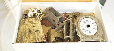 Big Lot Antique Vintage clock movements & parts Watchmakers watch parts
