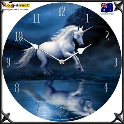 Original Anne Stokes Wall Clock Moonlight Unicorn New In Box 34Cm