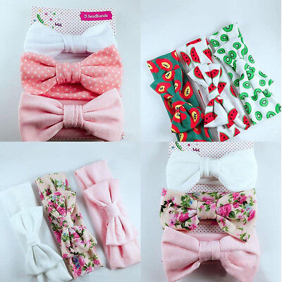 3pcs Soft Newborn Headband Cotton Elastic Baby Print Floral Bow-knot Hairband