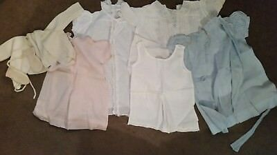 Lot of Antique Vintage Dolly  Baby Clothes Dresses slip Booties Sweater NB -2MO