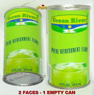 Green River Refreshment Flows Tin Soda Can Northfield,illinois Canfield-Chicago