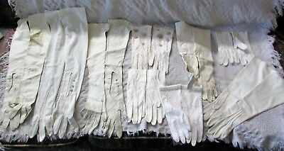Vintage Lot Of Ladies Dress Gloves Mixed Estate Bead, Leather, Cloth, White