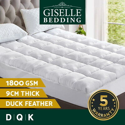 Giselle Bedding Pillowtop Mattress Topper Duck Feather Down Underlay 1800GSM