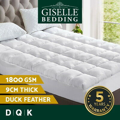Giselle Bedding Pillowtop Topper Mattress Duck Feather Down Underlay 1800GSM