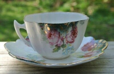 Vintage Beautiful Demitasse Cup & Saucer with Hand Painted Roses