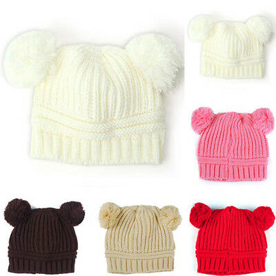 Fashion Cute Kinted Ball Kids Winter Cap Baby Girls Boys Solid Color Beanie Hat