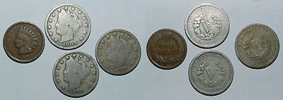 U.S.A.  4 OLD COINS - Liberty Nickels & Indian Cent