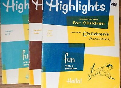 Lot of 3 Vintage 1970s Highlights Children's Magazines in Good Condition
