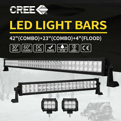 "42"" 560W CREE Combo LED Work Light Bar+2X4""+23"" 4X4 4WD Offroad Truck SUV ATV"