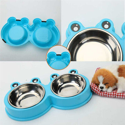 Pet Dog Cat Supplies Food Water Double Stainless Steel Bowl Food Feeder