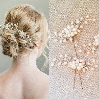 Wedding Bridal Pearl Flower Crystal Hair Pins Bridesmaid Clips Side Comb /bw