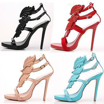 Ladies Peep Toe Sandals Shoes Angel Wings High Heels Strappy Sexy Gladiator Hot