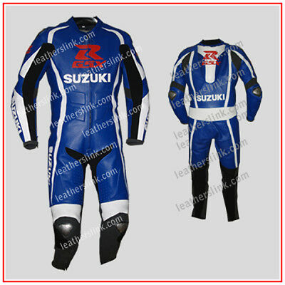 Men Suzuki Racing Motorcycle Motorbike Biker Leather Suit MST-67-A(US 42/EUR 52)