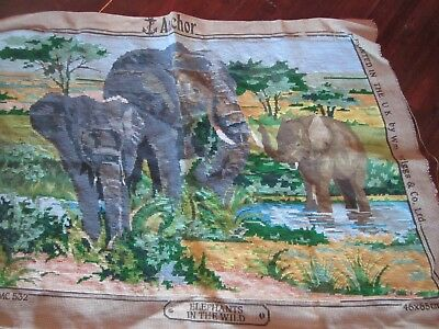 Elephants in the Wilds ANCHOR needlepoint Tapestry 46 x 65cm 70% stitched