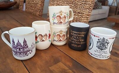 Job lot of Princess Diana Prince Charles commemorative mugs x 6