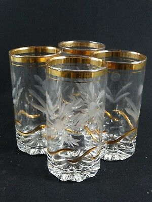 Boxed Set of 4 - 24k Gold Gilt Wheel Cut Highball Glasses made in Israel