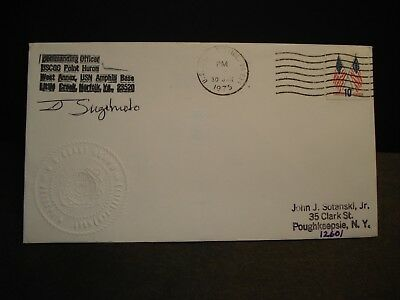 USCGC POINT HURON WPB-82357 Naval Cover 1975 EMBOSSED Cachet SIGNED LITTLE CREEK