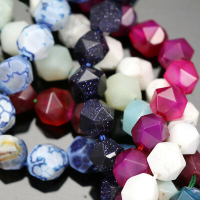 10mm Faceted Nugget Star Cut Semi-precious Gemstone Beads for Jewellery Making