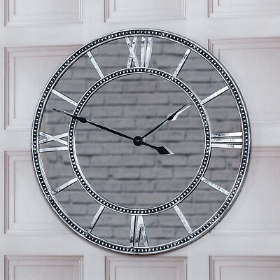 Large Vintage Silver Antique Mirrored Roman Numerals Round Wall Clock Home Decor
