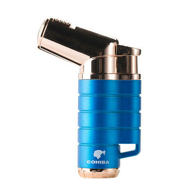 COHIBA Metal Cigar Cigarette Lighter Triple Jet Flame Windproof With Gift Box