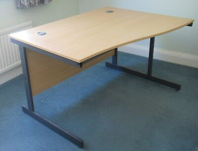 Curved Office / Home Office / Pc Desk With Cable Holes & Metal Legs Sturdy
