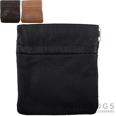 Mens / Gents Leather Coin / Money Holder / Pouch / Wallet Push Clip Fastening
