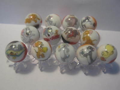 Tom and Jerry 5/8 size glass marbles with stands