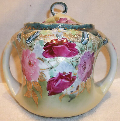 Antique Victorian Hand Painted Nippon Coralene Roses Handled Biscuit Jar